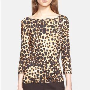 St. John Nordstrom leopard print jersey blouse L